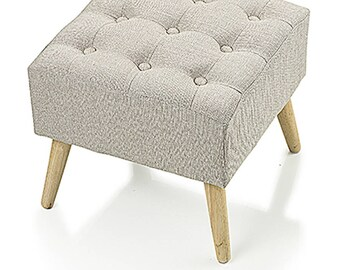 Beige fabric Square stool
