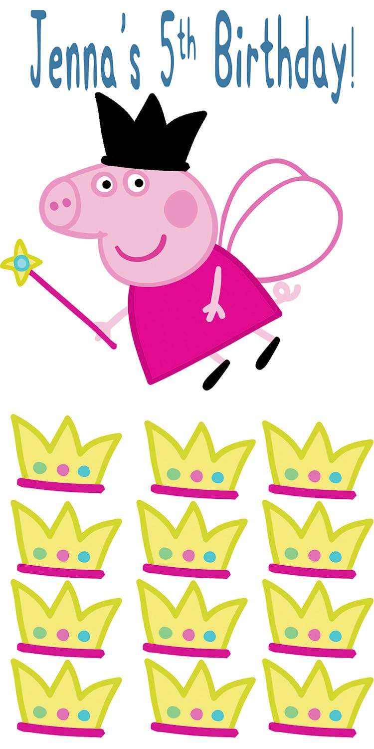Pin the Crown on Peppa Pig Pin the Tail on Peppa Pig Peppa | Etsy