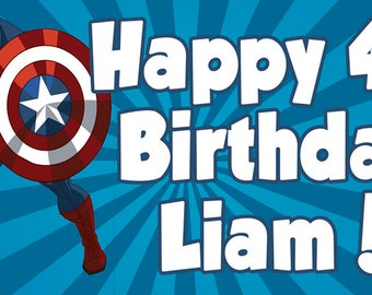 Captain America Personalized Birthday Banner/Backdrop