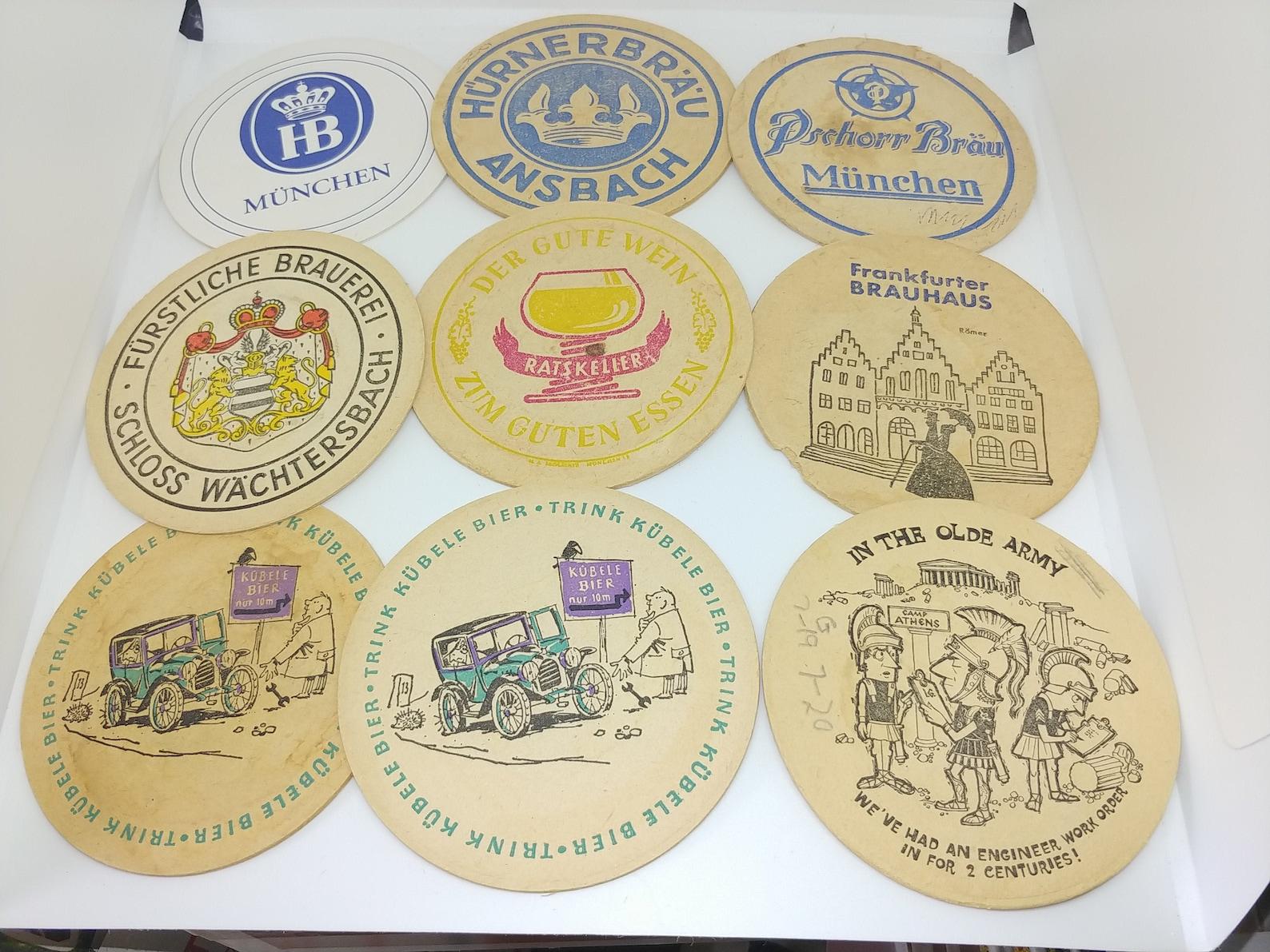 Unique Beer Coasters pack of 9 German, US Army Europe, Augsburg Bier