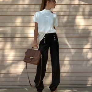 Black Medi Pants Women Pants Cotton Pants Palazzo Pants Wide Leg Pants Cotton Capris Trouser LCWT1