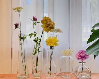 Farmhouse mismatched Bottle vases. Cottage barn flower bud vases set.