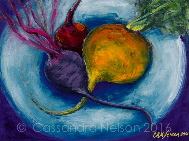 Sexy Beets oil painting food art blue red yellow image 0