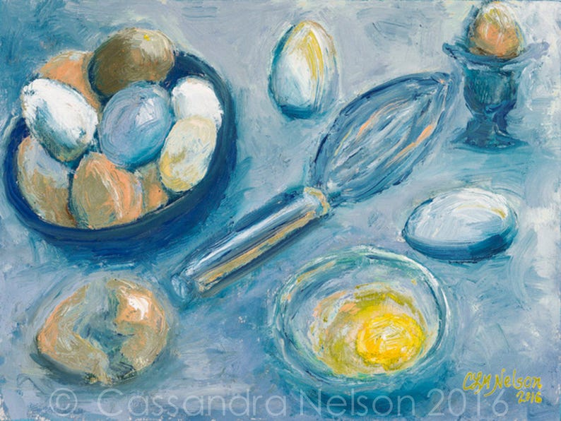 Pasture Chick Eggs oil painting food art blue yellow image 0
