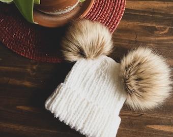 Handmade Ribbed Double-Pom Knit Beanie || 7 Sizes!