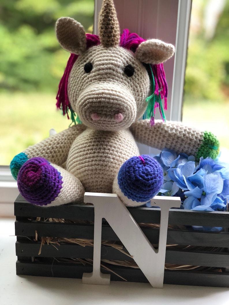 Handmade Unicorn Crochet Amigurumi Stuffed Animal image 0