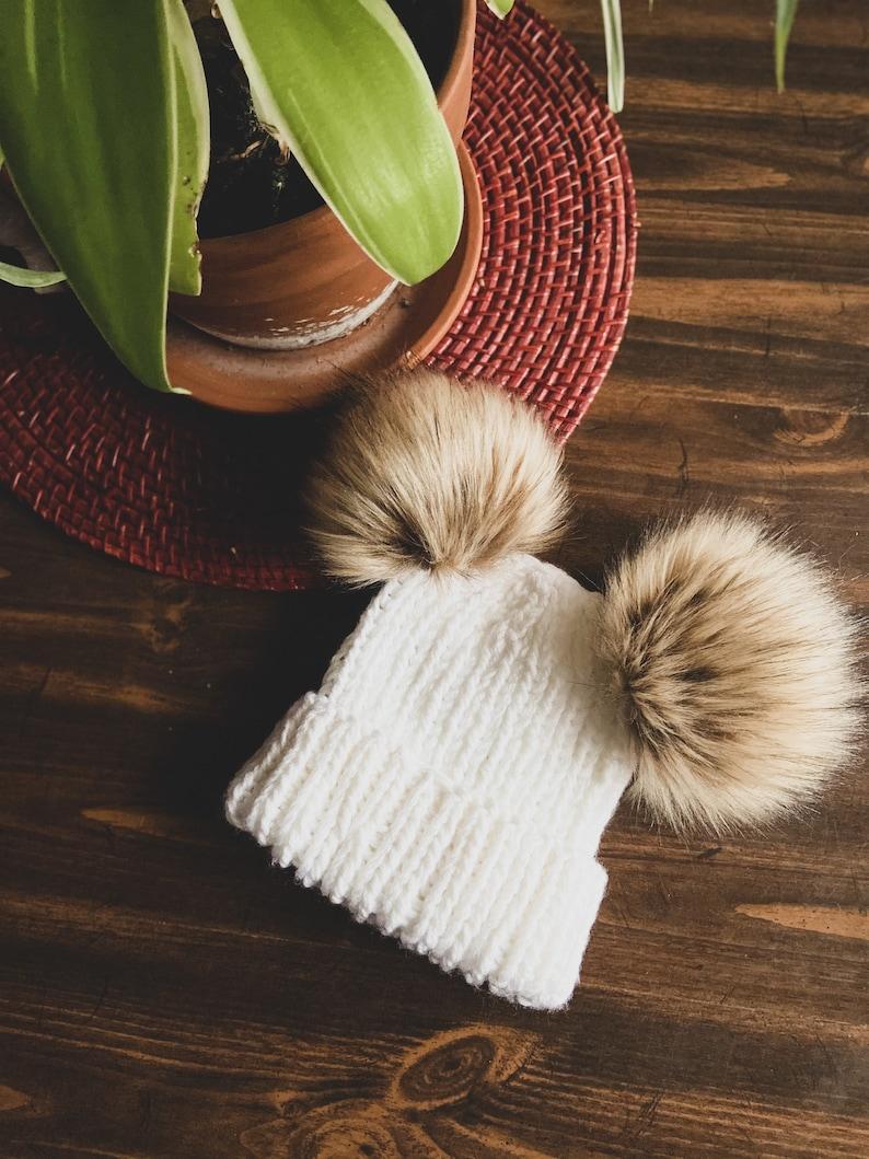 Handmade Ribbed Double-Pom Knit Beanie  7 Sizes image 0