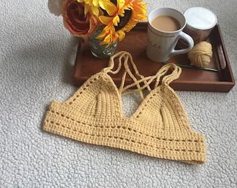 Handmade Crochet Geo-Trim Bralette
