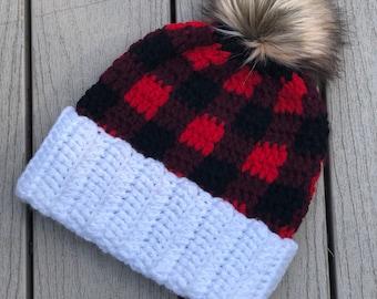 Handmade Buffalo Plaid Crochet Beanie || 7 Sizes!
