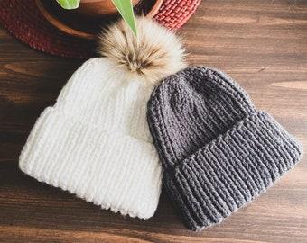 Handmade Ribbed Unisex Knit Beanie || 7 Sizes!
