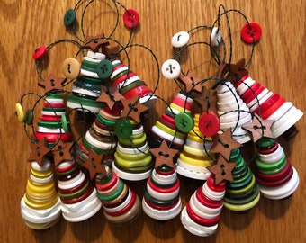 Set of Classic Christmas Color Button Ornaments