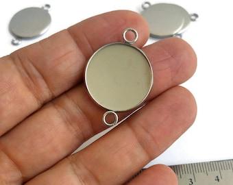 BULK 20 Cabochon frame heart charms antique silver tone FS166