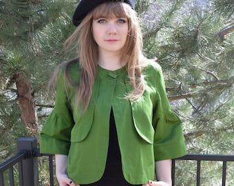 Vintage cropped jacket, French smock, Runway, Bell sleeve,