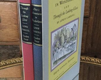 Alice in Wonderland vintage book set, 1965, Centennial Edition, Alice's Adventures in Wonderland, Through the Looking glass, Hardcover