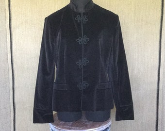 Vintage Black Velvet Jacket, Mourning coat, Steampunk, Asian style