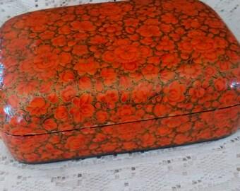 Vintage lacquer box, orange floral, trinket box, Asian, lacquer, paper mache