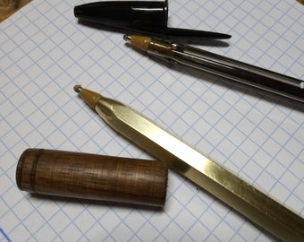 Big - Pal Hex pen with a wood cap, Ballpoint pen, Brass pen, 100% handmade  (ink refill from Bic pens, comes in variations)