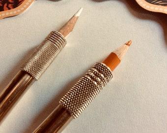 Pencil holder, pencil extender, pencil lengthener  (Pencil-Companion Diamond Knurling)