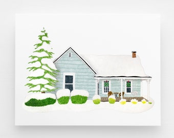 CHRISTMAS DELIVERY Custom House Portrait, holiday house painting, Christmas gift for son, cabin painting personalized mom gift from daughter