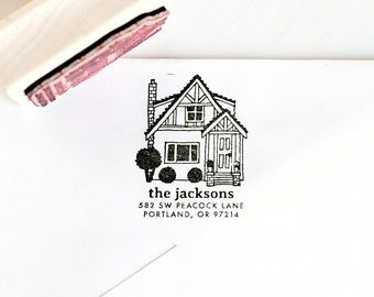 House Return Address Stamp, Home Address, Custom Portrait, Illustrated Drawing, Personalized Rubber Stamp, custom stamp, new home gift