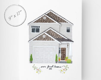 House Drawing, 9x12, House Portrait, Custom Drawing of your home, House Illustration, Custom Home Portrait, Closing Gift, Housewarming Gift