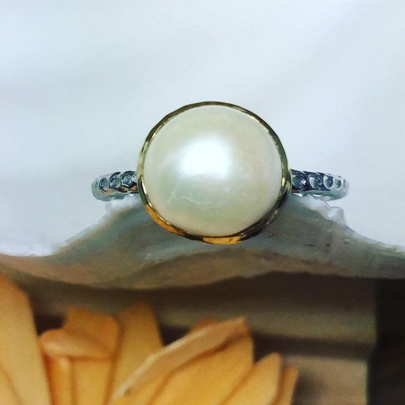 Statement Ring Natural Handmade Ring Silver Pearl Ring Gemstone Ring Bridal Ring Organic*Free Express Shipping