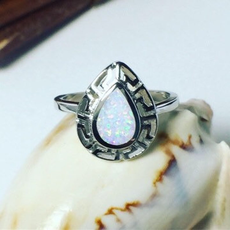 Handmade Opal Ring Milky opal Sterling Silver 925 Ring White ring* Greek Style *Gift ring Opal Ring Silver Opal Ring