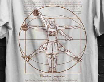 Vitruvian Jumpman T-shirt  / Michael Jordan / Leonardo Da Vinci  / Vitruvian Man / Basketball