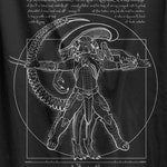 Vitruvian Hunters Negative (TEXT) T-shirt /  Sci-fi and  Horror Tee with Xenomorph and Yautja