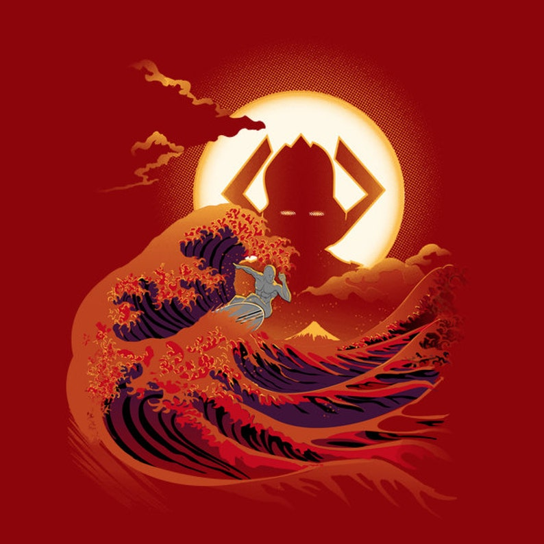 Surfing with the Alien T-shirt / Silver Surfer Tee / Galactus / The Great  Wave off Kanagawa /