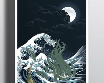 The Wave of R'lyeh Poster / H.P. Lovecraft Print / Cthulhu / The Great Wave off Kanagawa / Hokusai