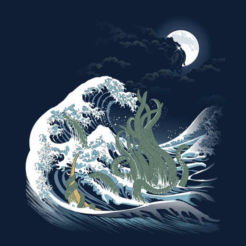 The Wave of R'lyeh T-shirt / H.P. Lovecraft Tee / Cthulhu image 0