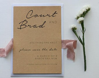 Save The Date Wedding Invitations – THE KNOT - Recycled Kraft Paper – Wedding Stationery