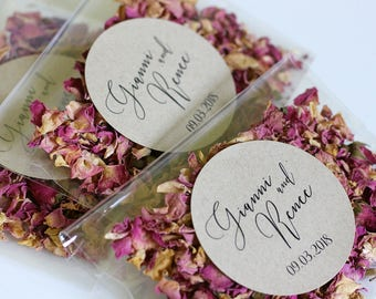 Personalised Wedding Confetti Toss ~ 'HANAKO' Eco Petal Toss ~ Rose Bud, Rose Petal ~ Biodegradable ~ 18 Different Designs To Choose From