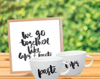 We Go Together Like Copy + Paste Framed Wall Art Wall Hanging Sign and Mugs Wedding Gift Set
