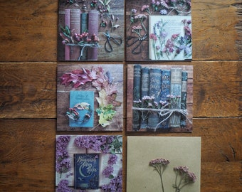 5 pack vintage book and flower themed greetings cards #2