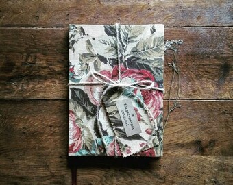 A5 Sketchbook hand covered in a vintage fabric reclaimed from curtains.