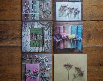 5 pack vintage book and flower themed greetings cards #1