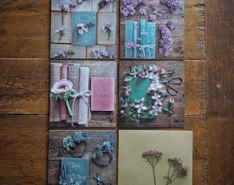 5 pack vintage book and flower themed greetings cards #3