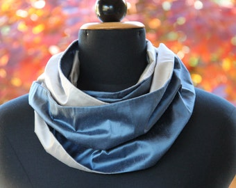 Blue Infinity Scarf, Infinity Scarves for Women, Silk Infinity Scarf, Blue Circle Scarf, Blue and Grey Scarf, Grey Infinity Scarf Scarf Grey