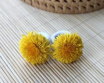 Yellow Dandelion Ponytail holder Hair elastic Girls hair accessories Kids hair ties Yellow hair flower Floral hair accessories Toddler hair