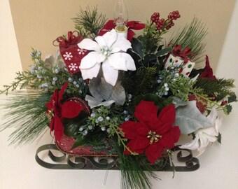 Christmas Sleigh, Winter Sleigh, Sleigh Floral Arrangement