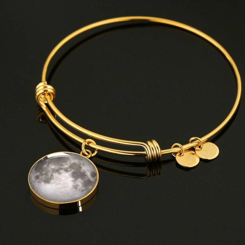 Personalized 2 Birth Moon Hinged Bracelet