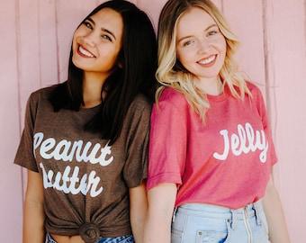 bfc994f6 Best Friends Peanut Butter & Jelly Tees / bff shirts / big little gift /  greek sorority t shirts