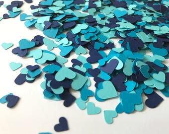 shades of blue mini heart confetti heart wedding decorations blue wedding decorations blue bridal shower decorations blue hearts