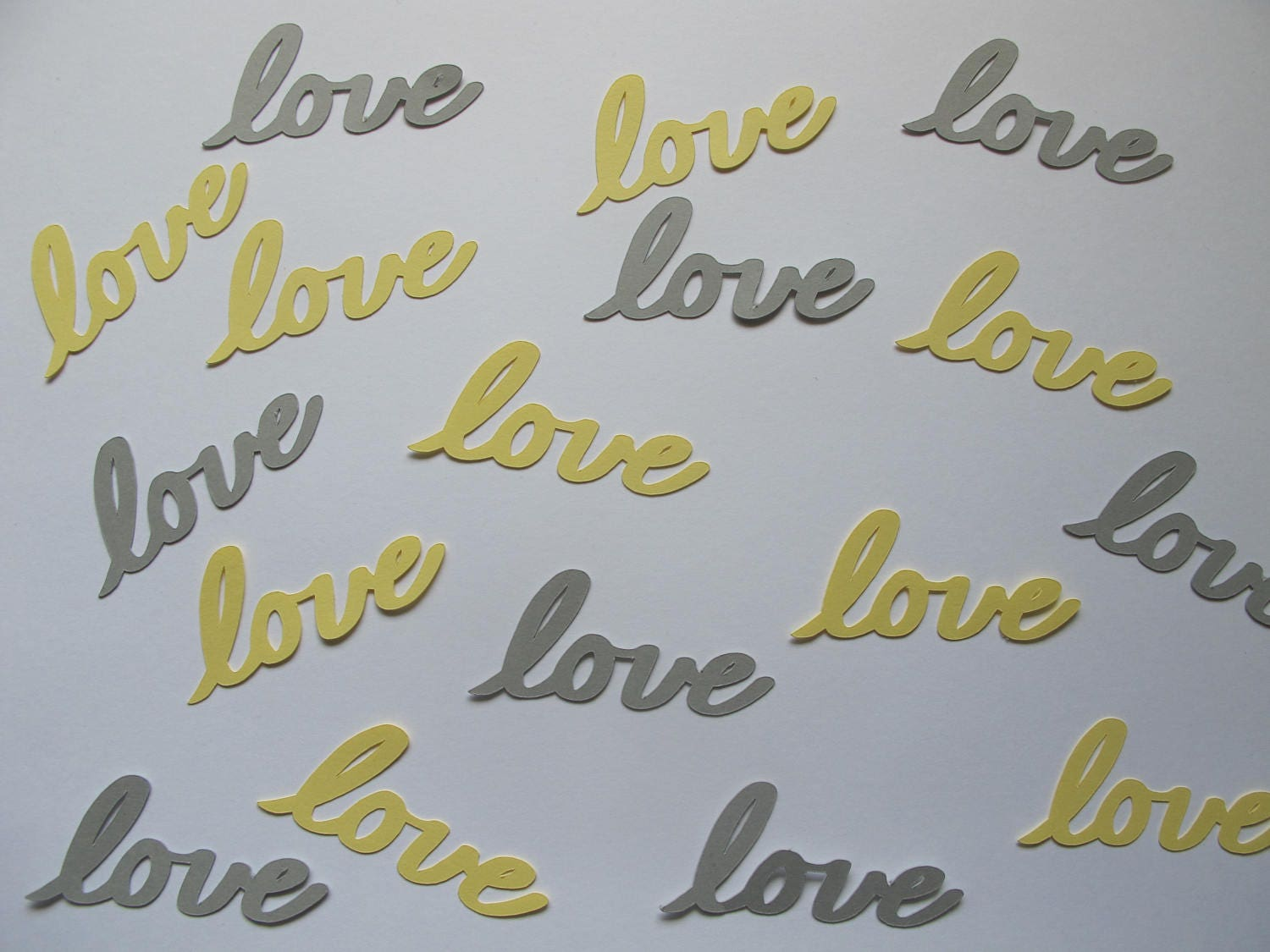 Yellow And Grey Love Confetti Yellow And Grey Wedding Etsy