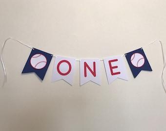 First Birthday Baseball Banner - Baseball Birthday Party Decorations - Boy's First Birthday Party Decor - One Birthday Banner