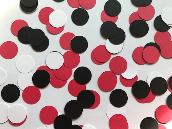 Red White Black Dot Confetti Red And Black Wedding Etsy