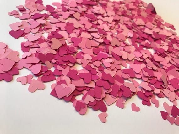 Mini Pink Heart Confetti Shades Of Pink Pink Wedding Etsy