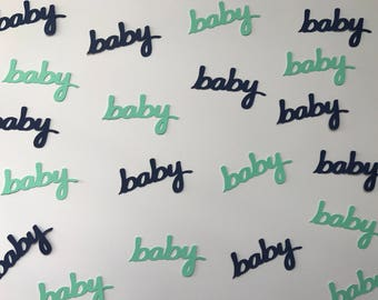 Navy and Mint Baby Confetti - Navy & Mint Baby Shower - Navy and Mint Decorations - Boy Baby Shower - Baby Confetti - Word Confetti